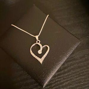 Timeless Sterling Silver CZ Heart PendantNecklace